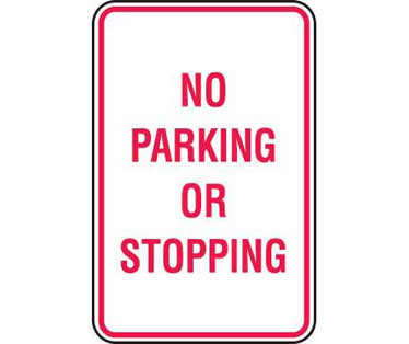 NO PARKING OR STOPPING